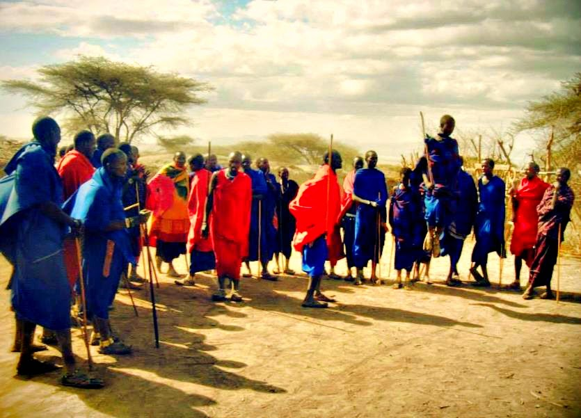A Masai welcoming dance in Ngorogoro National Park